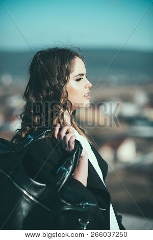 Beauty And Fashion Look. Pretty Girl With Fashionable Hair. Autumn Fashion Of Business Woman With Ba