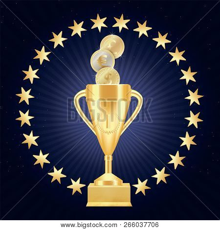 Golden Realistic Trophy Cup Or Goblet With Number One, Laurel Wreath And Gold Stars In A Circle On T