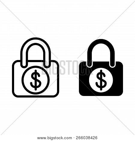 Locked Dollar Line And Glyph Icon. Lock With Dollar Sign Vector Illustration Isolated On White. Padl