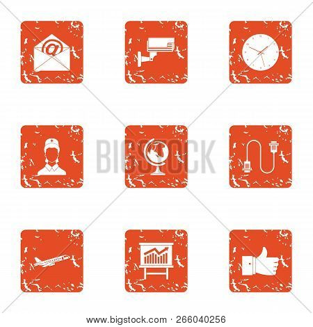 Watch over icons set. Grunge set of 9 watch over icons for web isolated on white background poster