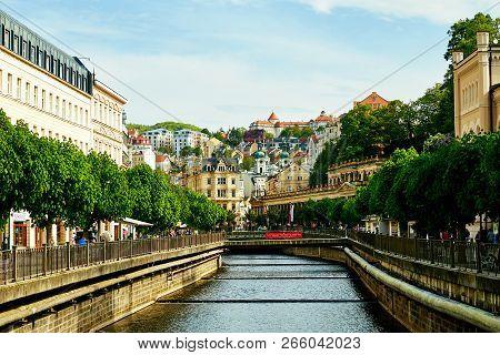 Karlovy Vary, Czech Republic - April, 1, 2018: Channel In Karlovy Vary