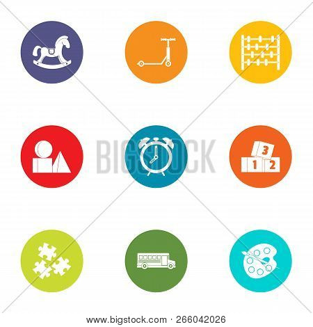 Miniature Toy Icons Set. Flat Set Of 9 Miniature Toy Icons For Web Isolated On White Background