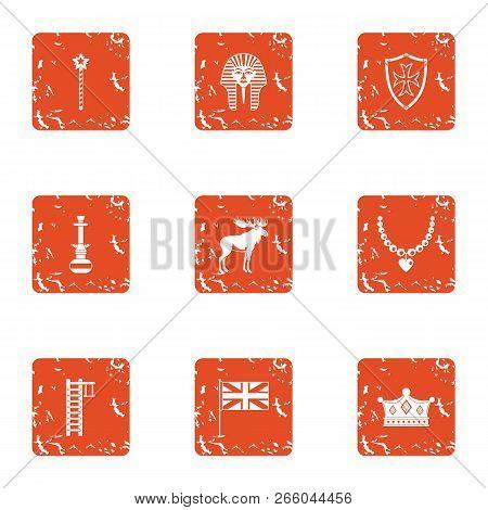 Boyhood Icons Set. Grunge Set Of 9 Boyhood Icons For Web Isolated On White Background