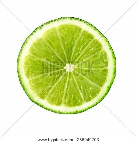Lime. Juicy Slice Of Lime. Lime Slice Isolated On White. Ripe Green Lime Citrus Fruit.