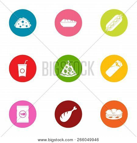 Daily Bread Icons Set. Flat Set Of 9 Daily Bread Icons For Web Isolated On White Background
