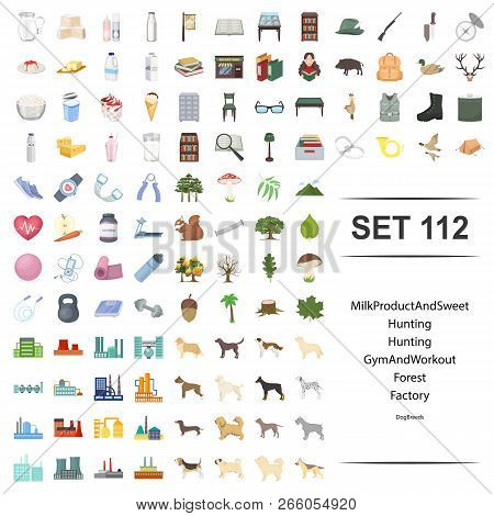 Vector Illustration Of Milk, Product, Hunting, Gym, Workout, Forest Factory Dog Breed Icon Set.