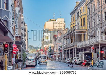 Cape Town, South Africa, August 17, 2018: The View In Long Street In Cape Town Towards Table Mountai