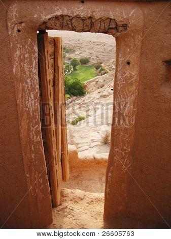 View to oasis from the Diriyah fortress in Er Riyadh, Saudi Arabia