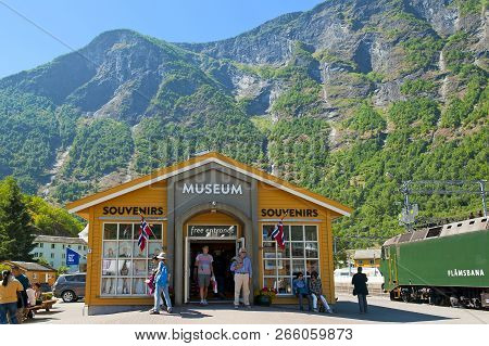 Flam, Norway - July 16, 2018: Breathtaking Norwegian Fjord And Mountain Landscapes On Norway In A Nu