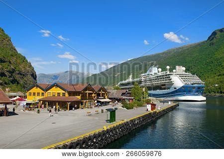 Flam - Gudvangen Cruise, Norway - July 16, 2018: Breathtaking Norwegian Aurlandsfjord And Naeroyfjor
