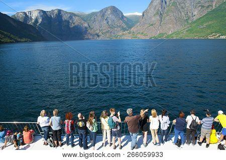 Flam - Gudvangen Cruise, Norway - July 16, 2018: Breathtaking Norwegian Fjord And Mountain Landscape