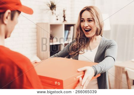 Pizza Delivery. Pizza Deliveryman. Girl With Pizza. Man With Box Is Funny Accessory. Deliveryman Ara
