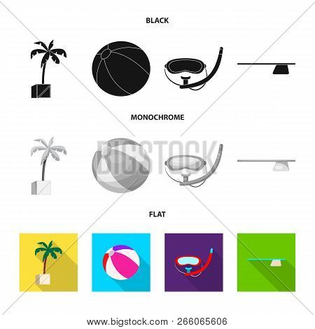 Isolated Object Of Pool And Swimming Symbol. Set Of Pool And Activity Stock Vector Illustration.