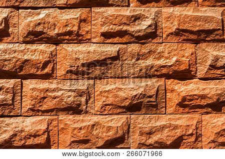Wall Covering With Natural Stones. Stone Wall Of Natural Stones In One Sizes. Rustic Stone Veneer In