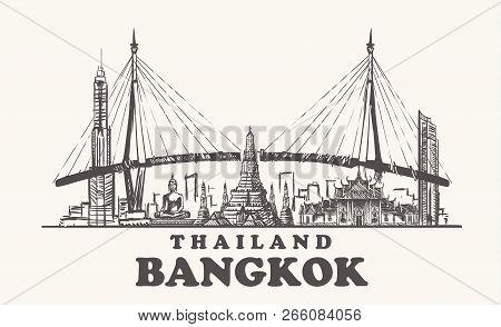 Bangkok Skyline, Thailand Vintage Vector Illustration, Hand Drawn Bangkok City On White Background.