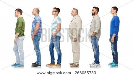 diversity and people concept - group of happy multiracial men standing in queue, isolated on white