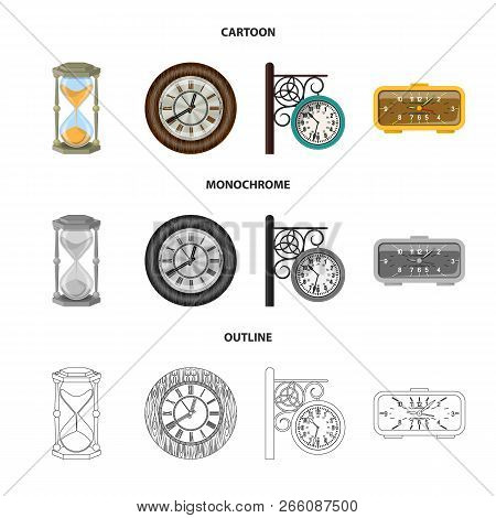 Vector Illustration Of Clock And Time Logo. Set Of Clock And Circle Stock Symbol For Web.