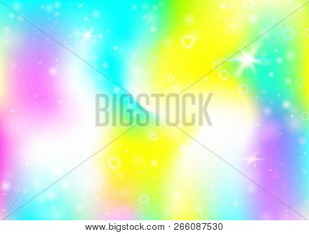 Hologram Background With Rainbow Mesh. Girlie Universe Banner In Princess Colors. Fantasy Gradient B