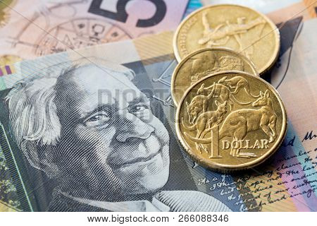 Australian money background, coins and notes.