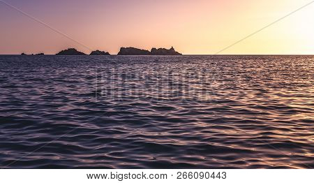 Sunset over the rocky Croatian coast in Dubrovnik, Croatia poster