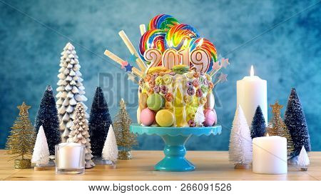 2019 Happy New Years Candy Land Lollipop Drip Cake.
