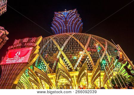 Macau, China - December 8, 2016: Grand Lisboa Casino, One Of The Oldest And Most Famous Casinos In M
