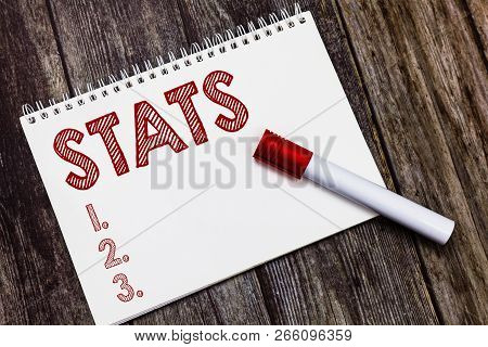 Writing note showing Stats. Business photo showcasing practice or science of collecting and analysing numerical data poster