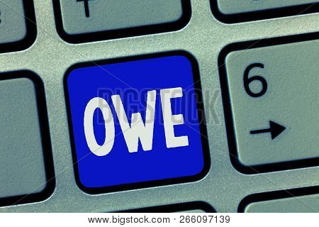 Text sign showing Owe. Conceptual photo Obligation to repay a bit in return for something received Paid back poster