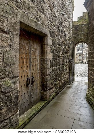 Stirling, Scotland, September 2017: A Narrow Path Inside Of Stirling Castle While Exploring It Durin