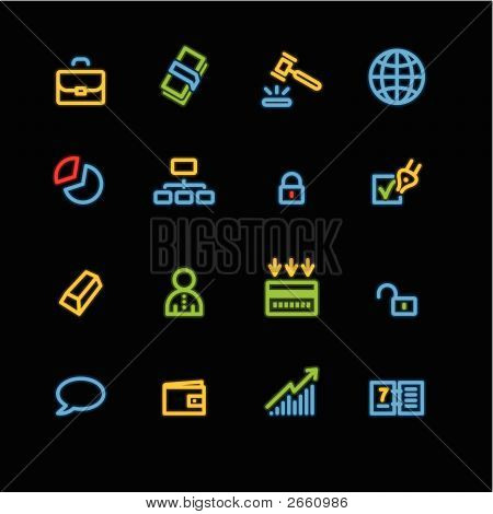 Neon Business Icons