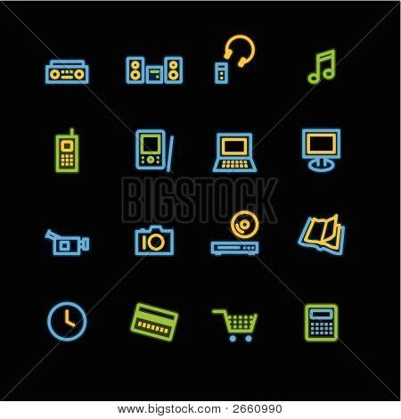 Neon Home Electronics Icons