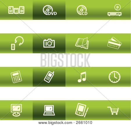 Green Bar Home Electronics Icons