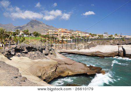 Luxury hotels at Torviscas Playa. Tenerife island, canaries