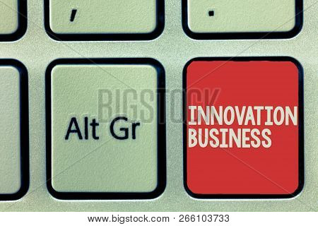 Text Sign Showing Innovation Business. Conceptual Photo Introduce New Ideas Workflows Methodology Se