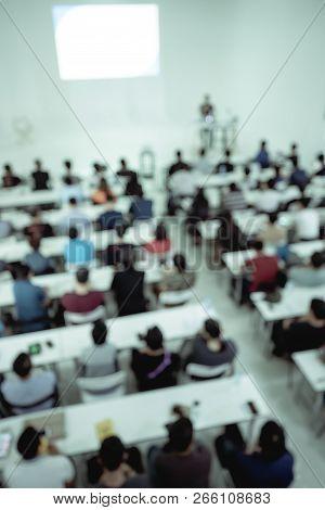 Speakers Talk In Meetings. Audience In The Meeting Room Businesses And Entrepreneurs Are Looking At