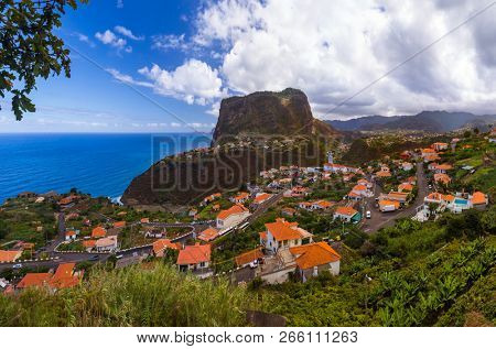 Town Faial in Madeira Portugal - travel background