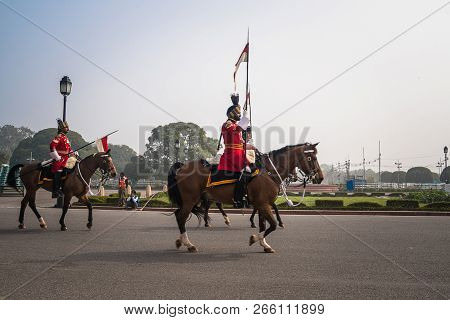 Cavalry Parading Down The Raj Path In Preparation For Republic Day Parade, New Delhi, India, 26 Janu