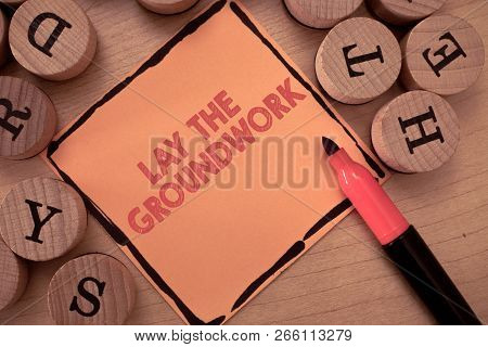 Text sign showing Lay The Groundwork. Conceptual photo Preparing the Basics or Foundation for something poster