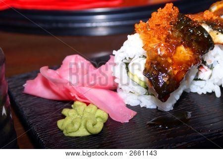 Eel Sushi Roll Close Up