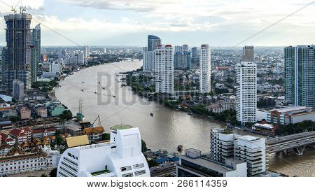 Bangkok City - Aerial View  Chao Phraya River Bangkok City Urban Downtown Skyline Of Thailand , City