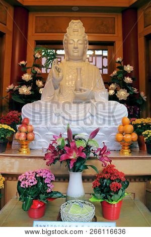 October 12, 2018 In Richmond, Bc:  Guanyin Statue Who Is A Buddhist Goddess Of Compassion Taken Insi