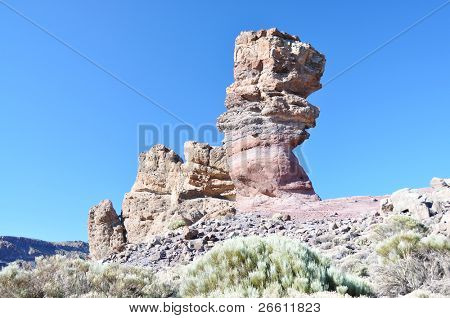 Famous Finger Of God rock formation in Canadas national park of Tenerife island, Canaries