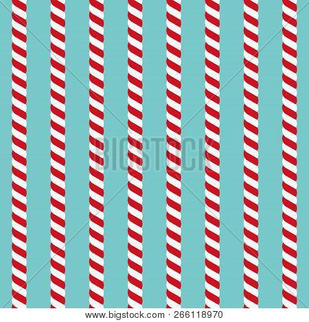 Candy Canes Vector Background. Seamless Xmas Pattern With Red And White Candy Cane Stripes