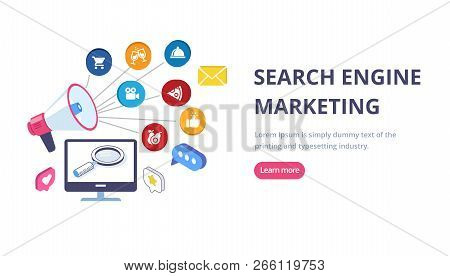 Search Engine Marketing. Search Engine Optimization, Vector Illustration.