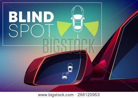 Blind Spot Assist Cartoon Vector Concept. Danger Warning Alert Visual Signal Icon In Car Rear View M