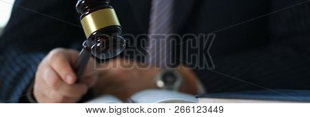 Judge Holding Hammer In Hand Lies On Table In Debate Room For Fair Judgments Economic Notions Of Vio