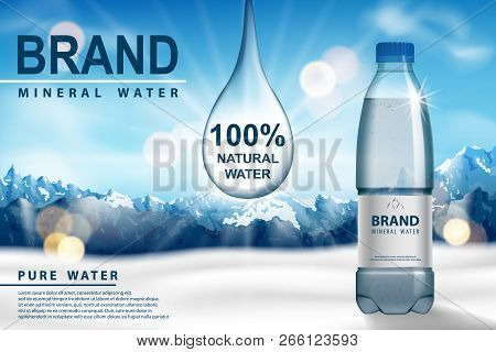 Mineral Water Ad, Plastic Bottle With Pure Mineral Liquid On Snow With Mountain Background. Transpar