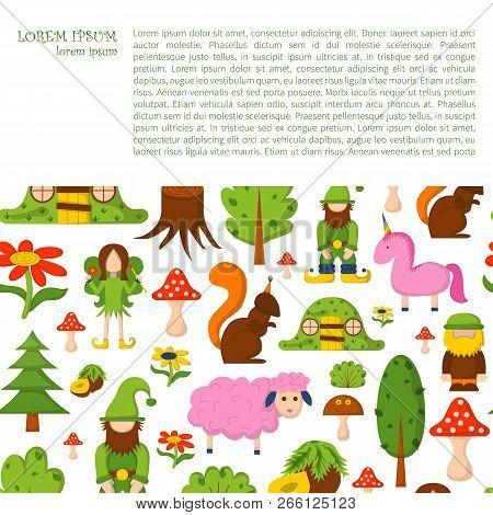 Vector Illustration, Cartoon Children Magic Forest Background. Fairy Tale, Fantasy, Magic Objects. C