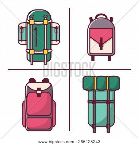 Vector Illustration With Cartoon Flat Backpack And Sport Suitcase. Flat School Backpack. Mountain To