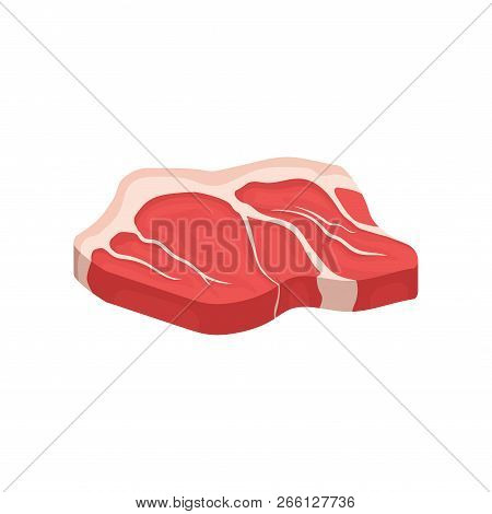 Raw Beef Tenderloin. Fresh Meat. Organic Food. Culinary Theme. Flat Vector Icon For Poster Or Banner